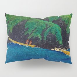 Kawase Hasui Vintage Japanese Woodblock Print Beautiful Green Cliffs Raging Blue Waters With Fisherm Pillow Sham