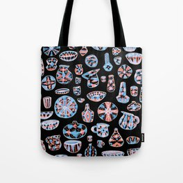 Pastel Neon Pottery on Black Tote Bag