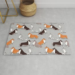 Origami Collie doggie friends Rug