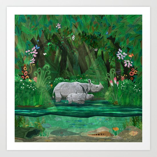 Rhinoceros mom and cub Art Print