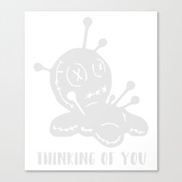 Funny Thinking Of You Stick Figure Canvas Print