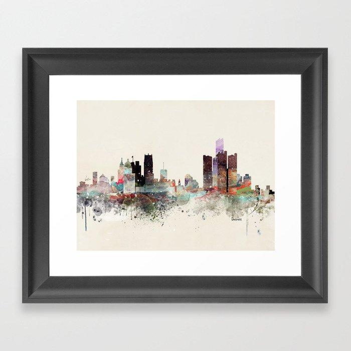 detroit michigan skyline Gerahmter Kunstdruck