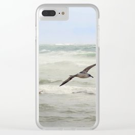 Seagulls flying over rough sea Clear iPhone Case