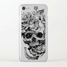 Black and White skull with roses pen drawing Clear iPhone Case