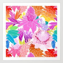 Ginger Flowers in Tropical Rainbow + White Art Print