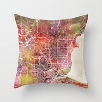 detroit Throw Pillows featuring Detroit by MapMapMaps.Watercolors