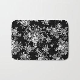 Black And White Floral Pattern Bath Mat