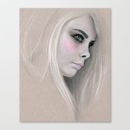 Cara Fashion Illustration Portrait Canvas Print