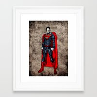 man of steel Framed Art Prints featuring Steel Man by UvinArt
