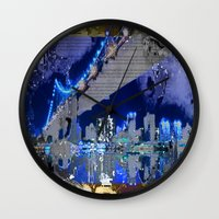brooklyn bridge Wall Clocks featuring Brooklyn Bridge by Robin Curtiss