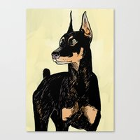 doberman Canvas Prints featuring Doberman by Cassandra Jean