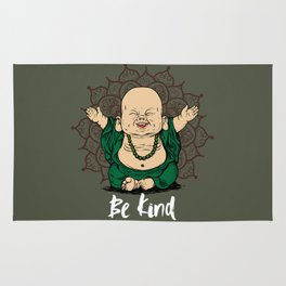 Be Kind Little Buddha Cute Smiling Buddha over mandala Rug