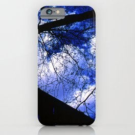 Urban maple tree in a winter evening with a city building and a cloudy sky iPhone Case