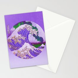 Great Wave Off Kanagawa Mount Fuji Eruption and Gradient Stationery Cards