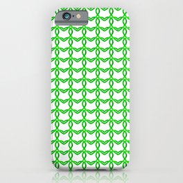 Cross sparkling pattern of green hearts on a light background. iPhone Case