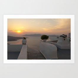 Santorini sunset Art Print
