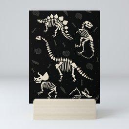 Dinosaur Fossils on Black Mini Art Print