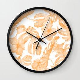 Island Vacation Hibiscus Palm Leaf Coral Orange Wall Clock