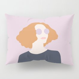 Orange Hair Girl // Minimalist Indie Rock Music Festival Lavender Sunglasses by Mighty Face Designs Pillow Sham