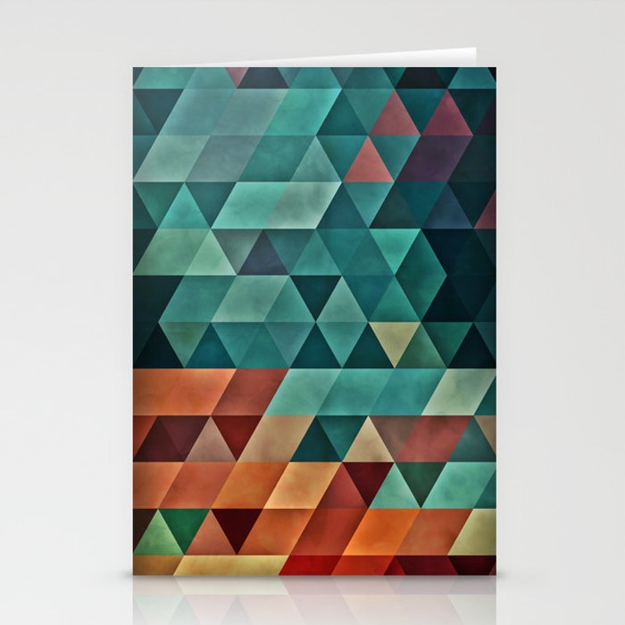 Teal/Orange Triangles Stationery Cards