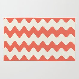 Pantone Living Coral & Cannoli Cream Soft Zigzag Rippled Horizontal Line Pattern Rug