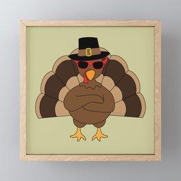Cool Turkey with sunglasses Happy Thanksgiving Framed Mini Art Print