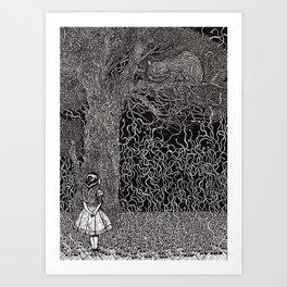 Alice meets Cheshire Cat Art Print