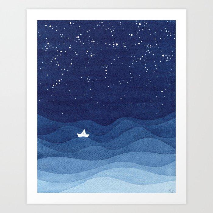 blue ocean waves, sailboat ocean stars Kunstdrucke