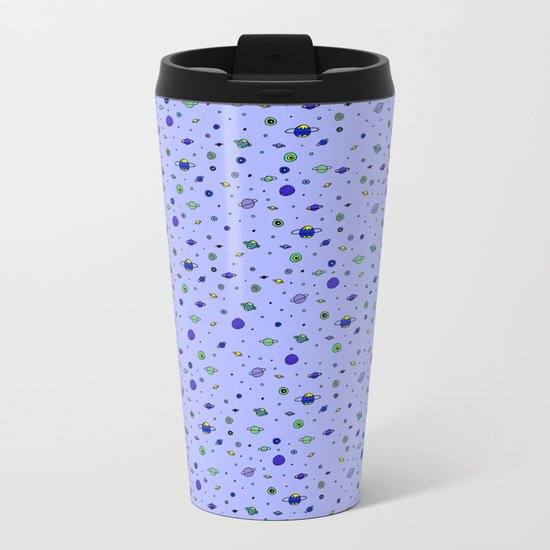 indigo Space with Blue Planets Metal Travel Mug