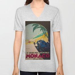 Vintage 1933 Monaco Grand Prix Car Advertisement Poster by Geo Ham Unisex V-Neck