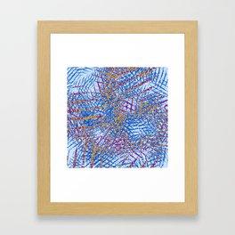 Blue Abstract Stripes Beach Colors Framed Art Print