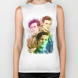 Matt Smith/Doctor Who inspired Mixed Media Watercolor Portrait Biker Tank