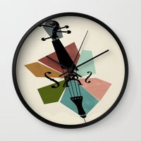 cello Wall Clocks featuring Bach - Cello Suites by Prelude Posters