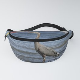 great blue heron in water in vancouver Fanny Pack