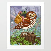 Little Owl with Packed Basket Art Print