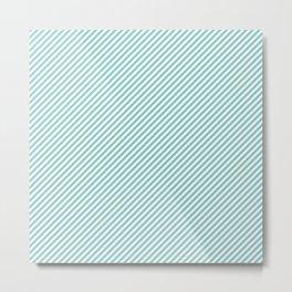 Mini Aqua Blue and White Candy Cane Stripes Metal Print