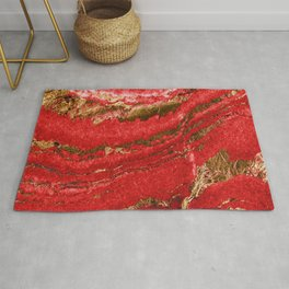 Red and Gold Marble Abstract Design Rug