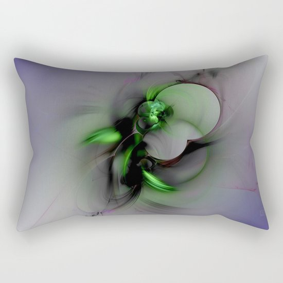 Abstract in Black and Green Rectangular Pillow