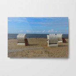 Beach Life in Autumn Metal Print
