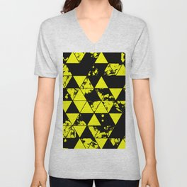 Splatter Triangles In Black And Yellow Unisex V-Neck