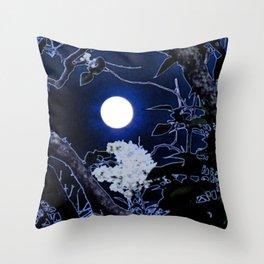 Mystical Moon and Viburnum Throw Pillow