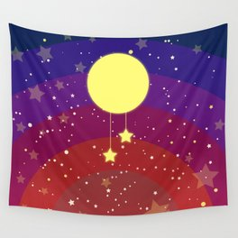 Moon (sun) with stars Wall Tapestry
