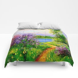 Lilac bloom on the river Comforters
