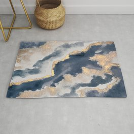 All that Shimmers – Gold + Navy Geode Rug