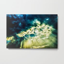 The Sun Is Breaking Through The Dramatic Stormy Clouds. Summer Weather Metal Print