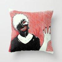 tokyo ghoul Throw Pillows featuring Kaneki - Tokyo Ghoul by Kelly Katastrophe