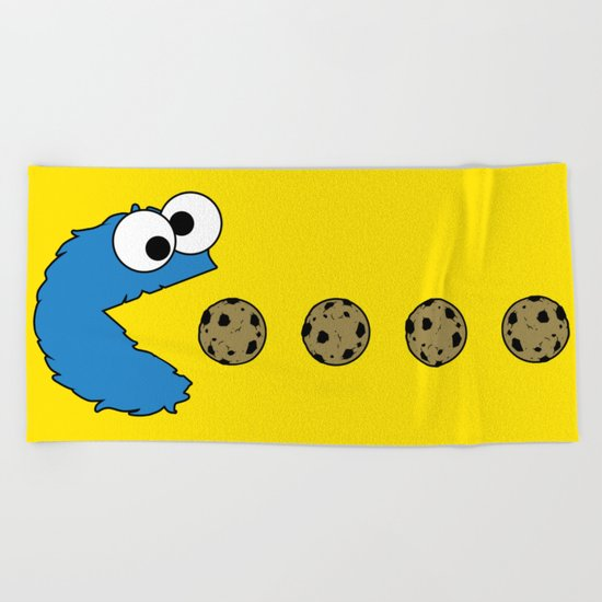 Cookie monster Pacman Beach Towel