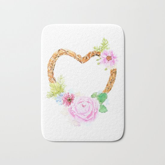flower heart pink rose and daisy watercolor Bath Mat
