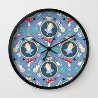 alice in wonderland Wall Clocks featuring Wonderland by Emily Golden
