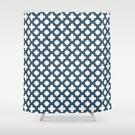 Dusky Blue Stars & Crosses Pattern Shower Curtain